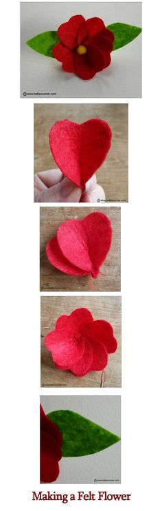 Craft Project - How to make a felt flower Faux Flowers, Diy Flowers, Fabric Flowers, Paper Flowers, Handmade Crafts, Diy And Crafts, Material Flowers, Quilted Gifts, Felt Fabric