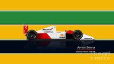 Ayrton Poster featuring the drawing Senna - 1991 Mclaren Honda by Jeremy Owen Honda, Motorcycles, Memories, Cars, Drawing, Artwork, Poster, Collection, Ayrton Senna