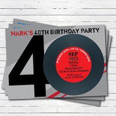 retro red 40th birthday invitation. Man / woman. by CrazyLime