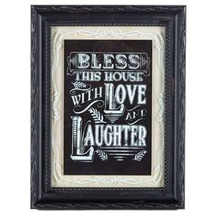 Fill your home with happiness, love, and home décor that reflects your own unique style! This beautiful Bless This House Framed Chalkboard Wall Art features a lightly-distressed black frame with raised details, clear glass with a white etched design printed on the back, a textured tan background, and a black chalkboard-style center secured to the back side of the glass for a dimensional effect. Cheerful and chic, this wall art is sure to add a stunning touch to the wall of your ...