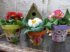 decoupage, make your own mod podge, decoupage flower pots, decorate your own flower pots, flower pot crafts, eco crafts for kids, kids crafts, garden crafts