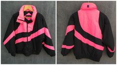 80's Peter J Pink and Black Hypo-Allergenic Winter Parka Skiwear Ski Jacket - Women's Large by ElkHugsVintage on Etsy