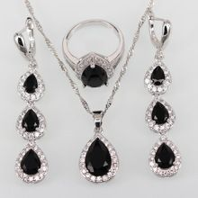 New Long 925 Sterling Silver Black Sapphire Jewelry Sets For Women Fashion Zircon Earrings/Ring/Pendant t128