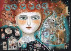 Mixed Media Painting Original Modern Folk Art  Expressive Free Bird - Yes, had to have this one too!