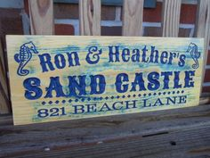Beach House Address Sign Personalized Wooden by TKWoodcrafts, $41.95