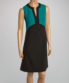 Loving this Teal  Black Keyhole Color Block A-Line Dress on #zulily! #zulilyfinds