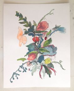 Tied with a Ribbon, original watercolor painting and ink drawing, floral artwork