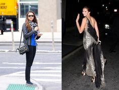 Nina Dobrev's casual day look and glamorous evening attire.
