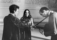 Bob Dylan, Joan Baez and Paul Stookey (Peter, Paul & Mary) playing together at the Lincoln Memorial 51 years ago today 8-28 in 1963 at The March On Washington rally.