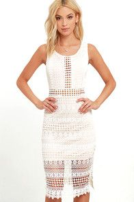 You'll be stealing hearts wherever you set foot in the Set to Stun Beige and Ivory Lace Midi Dress! Gorgeous ivory lace tops beige knit across a fitted bodice with a rounded neckline and darting. A sheer waistband introduces a sheath midi skirt with a complementary, sheer hem. Hidden back zipper and clasp. #CuteDresses #TrendyTops, #FashionShoes #JuniorsClothing