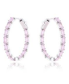 brinco argola quartzo rosa com banho de rodio e pedras zirconias acessórios femininos online