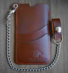 iphone 6 wallet case: Biker Chain Wallet - Premium Leather Protects from Cracks, Drops & Loss. 2 Pockets holds Credit Cards, Drivers License & Cash..