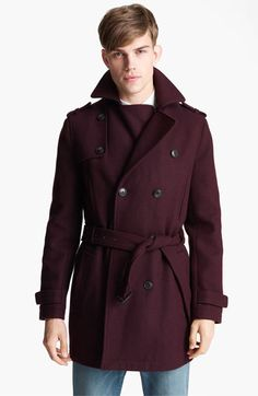 Topman Double Breasted Wool Blend Trench Coat | Nordstrom