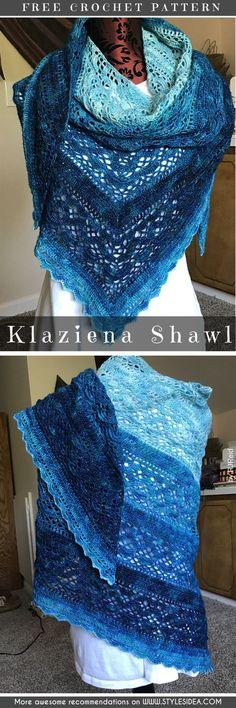 Klaziena Crochet Shawl Free Pattern #crochetscarf #crochetfreepatterns #crochetshawl #freecrochetpatternsforshawl