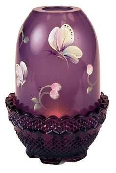 Fenton Glass Purple and Cream Butterfly Angel Candle Light