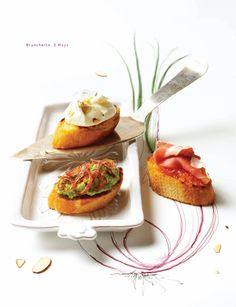 Bruschetta Three Ways // Sweet Paul www. Recipes Food Styling by Diana Perrin of Casa de Perrin, Prop Styling Artwork by Alicia Buszczak and Photography by Bricco. Yummy Appetizers, Appetizer Recipes, Sandwiches, Sweet Paul, Bruschetta, Food Pictures, Food Styling, Prosciutto, Delish