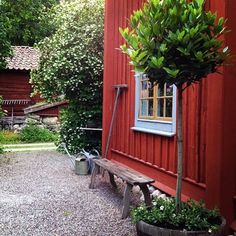 Although old inside principle, a pergola continues to be experiencing somewhat of a contemporary renaissance Swedish Cottage, Red Cottage, Swedish House, Garden Cottage, Home And Garden, Red Houses, Porche, Outdoor Living, Outdoor Decor