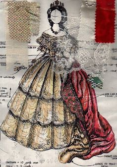 Design for a replica of a gown worn by Elizabeth of Austria in a painting by Franz Russ (c.1860).