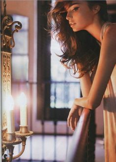 Miranda Kerr - winged eyeliner and candle glowy skin