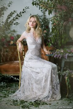 claire pettibone fall 2016 cap flutter sleeves thick lace strap sweetheart neckline fully embellished lace vintage sheath wedding dress sheer back (cora) mv -- Claire Pettibone Fall 2016 Couture Wedding Dresses Sheer Wedding Dress, 2016 Wedding Dresses, Bohemian Wedding Dresses, Boho Wedding, Bridal Dresses, Wedding Gowns, Wedding Vintage, Wedding Blog, Trendy Wedding
