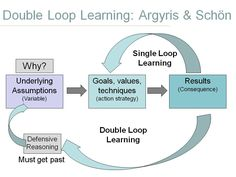 "A person who is double loop learning is basically orientating herself to all possible solutions within her environment by asking a series of ""whys"""