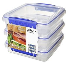 Sandwich Keeper Lunch Snack Set Storage Container Box Set Of 3 New #Sistema