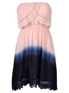 DRESS IN DIP DYE WITH LACE TRIM