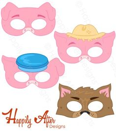 Three Little Pigs Printable Masks 3 Little Pigs Activities, Fairy Tale Activities, Pig Crafts, Preschool Activities, Three Little Pigs Story, Printable Masks, Pig Mask, Pig Costumes, Fairy Tales Unit