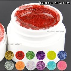 12 x Colour Professional Big Glitter Color UV Builder Gel Nail Art Tips DIY 975A