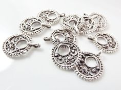 10 Mini Round Filigree Charms  Matte Silver Plated by LylaSupplies, $4.50