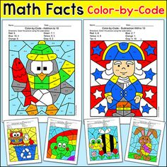 Practice number matching, addition, subtraction, multiplication or division with these fun and engaging differentiated color-by-code worksheets for seasons and special occasions throughout the entire school year! These activities are perfect for morning work, math centers, early finishers, substitutes, and homework.