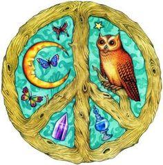 Declare World Peace American Hippie Art ~ Peace Sign Owl