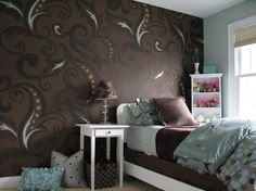 Cool Girlish Bedroom Design Inspiration With Black Walls: Cool Girlish Bedroom Design Inspiration With Black Walls With White And Brown Bed Design And Wooden Furniture