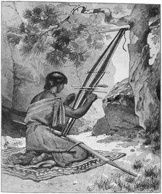 Navajo Woman Weaving a Belt