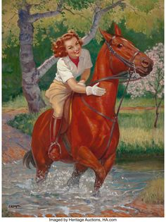 It highlights a pin up girl riding horseback through a stream of water. It makes a perfect addition to any calendar girl colection and would look sensational in any setting. All The Pretty Horses, Beautiful Horses, Ride Drawing, Horse Posters, Vintage Horse, Vintage Canvas, Equine Art, Horse Girl, Horse Pictures
