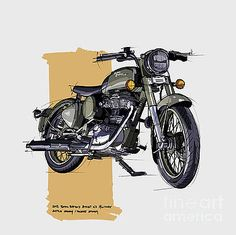 2012 Royal Enfield Bullet Military Battle Green Desert Storm by Drawspots Illustrations Motorcycle Art, Bike Art, Enfield Motorcycle, Rockers, Royal Enfield Classic 350cc, Royal Enfield Wallpapers, Bullet Bike Royal Enfield, Bike Sketch, Bike Drawing