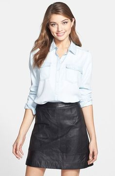 Halogen® Long Sleeve Chambray Shirt (Regular & Petite) available at #Nordstrom