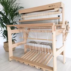 Compact by Mighty, the Louet David 2 is an 8 harness floor loom with sinking shed and built-in raddle and cam assist for treadleing Weaving Tools, Loom Weaving, Floor Space, Textiles, Bunk Beds, Fiber Art, Maker Space, Flooring, Paracord