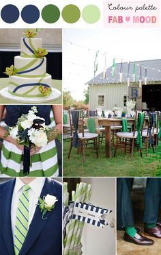 Navy & Green ...Love these colors together too... How does one ever decide colors for their wedding