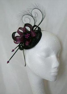 Black and Amethyst Plum Pheasant Curl Feather Sinamay Loop & Pearl Wedding Fascinator Mini Hat