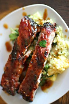 Grilled Jamaican-Style Jerk Ribs and Pineapple Cilantro Lime Rice -- easy summer recipe -- clean eating (skip the sugar) summer coctails recipes ; Jamaican Cuisine, Jamaican Dishes, Jamaican Recipes, Rib Recipes, Grilling Recipes, Cooking Recipes, Dishes Recipes, Thyme Recipes, Pork Dishes