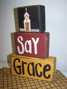 Primitive Painted Blocks | ... blocks sign, primitive sign, american folk art, dining room decor