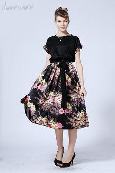 Doresuwe.com SUPPLIES 優雅な花咲く花ベルトと半袖シフォンワンピース マキシワンピース