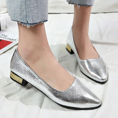 288c6f766e0 Plain Chunky Low Heeled Point Toe Date Office Comfort Flats