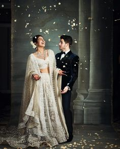 Priyanka Chopra, Nick Jonas wedding reception LIVE updates: As the couple and Bollywood celebs gear up to arrive for the big bash, celebs begin to arrive including Salman Khan and Kajol. Bollywood Couples, Bollywood Wedding, Bollywood Celebrities, Bollywood Fashion, Pakistani Bridal, Bridal Lehenga, Indian Bridal, Lehenga Choli, Lehenga White