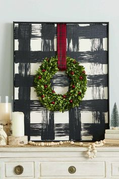 Add a touch of farmhouse style to your Christmas decor with this oversize DIY buffalo check art. Add a touch of farmhouse style to your Christmas decor with this oversize DIY buffalo check art. Christmas Crafts To Make, Christmas Signs, Winter Christmas, Christmas Wreaths, Christmas Ideas, Christmas Mantels, Christmas Wood, Plaid Christmas, Farmhouse Christmas Decor