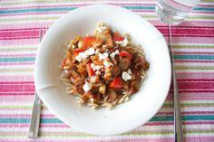Hämmentäjä: Greek aubergine pasta. Kreikkalainen munakoisopasta