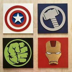 Superhéroe, arte de la pared, Hulk, Ironman, Capitán América, Thor, Batman, Superman, Flash.  tamaño: 20 cm X 20 cm  Cualquiera de estos personajes de cómic hará la adición perfecta a su hijo sala, teatro o sala de juegos.  Cada superhéroe se compone de láser individual cortar, mano pintados y pegados juntos para producir un efecto 3D de captura de los ojos.  La lista de caracteres siempre es creciente, si tiene algo en particular en mente por favor déjemelo saber puedo venir para arriba con…
