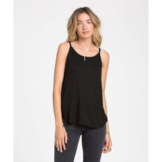 Billabong Women's All A Dream Tank ($35) ❤ liked on Polyvore featuring tops, black, knit tops, high neck tank, spaghetti strap tank top, black spaghetti strap tank top, billabong tank and black low tops