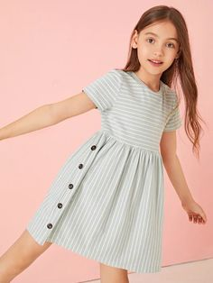 To find out about the Girls Buttoned Side Striped Babydoll Dress at SHEIN, part of our latest Girls Dresses ready to shop online today! Baby Girl Dress Patterns, Baby Dress, The Dress, Baby Frocks Designs, Kids Frocks Design, Girls Smocked Dresses, Little Girl Dresses, Toddler Fashion, Kids Fashion
